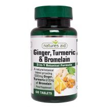 Natures Aid Ginger, Turmeric & Bromelain (60 tablets)